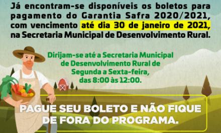 GARANTIA-SAFRA 2020/2021: PREFEITURA DE OURO VELHO ENTREGA OS BOLETOS NESTA SEGUNDA – FEIRA, 25