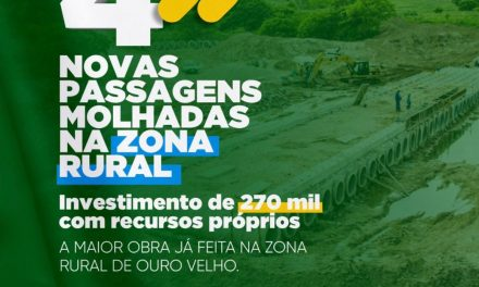 Prefeito Augusto Valadares anuncia construção de 04 passagens molhadas na zona rural de Ouro Velho