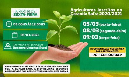 Secretaria de Agricultura de Ouro Velho divulga calendário de entrega das sementes para os agricultores