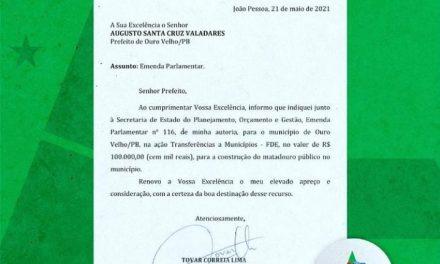 Prefeito de Ouro Velho anuncia destinação de emendas da senadora Daniella Ribeiro e do deputado estadual Tovar para o município